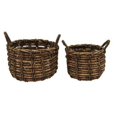 17.75 in. x 17.75 in. x 11.75 in. Water Hyacinth Basket in Brown (Set of 2)
