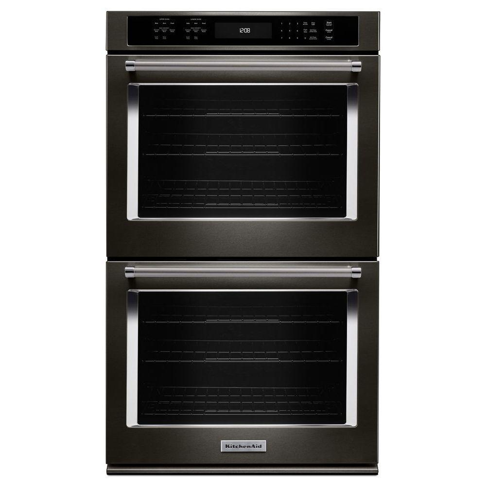 Beau KitchenAid 30 In. Double Electric Wall Oven Self Cleaning With Convection  In Black Stainless
