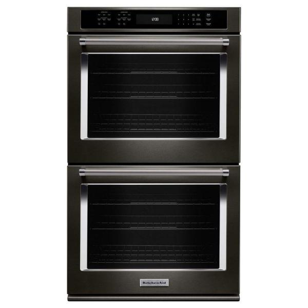 30 in. Double Electric Wall Oven Self-Cleaning with Convection in Black Stainless