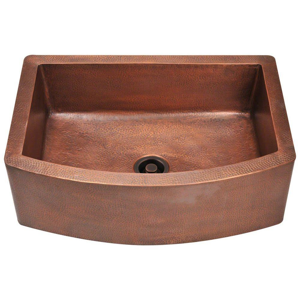 Good 33 Copper Farmhouse Sink #9 - Polaris Sinks Farmhouse Apron Front Copper 33 In. Single Bowl Kitchen Sink