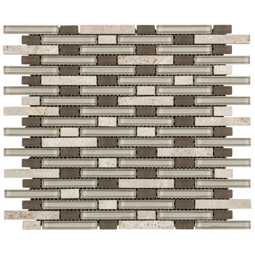 Jeffrey Court Riverbend 13.25 in. x 11 in. x 8 mm Glass/Light Travertine Mosaic Wall Tile