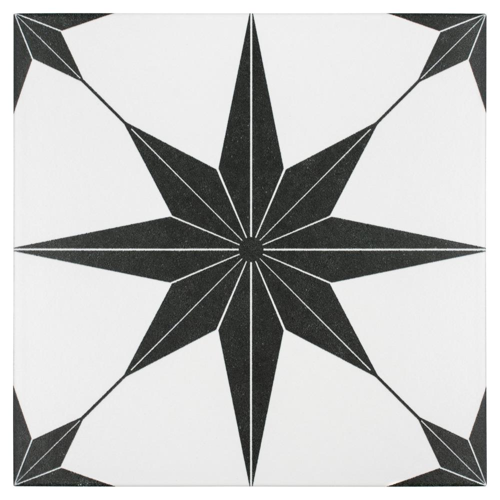 Merola Tile Stella Nero Encaustic 9-3/4 in. x 9-3/4 in. Porcelain Floor and Wall Tile (11.11 sq. ft. / case)