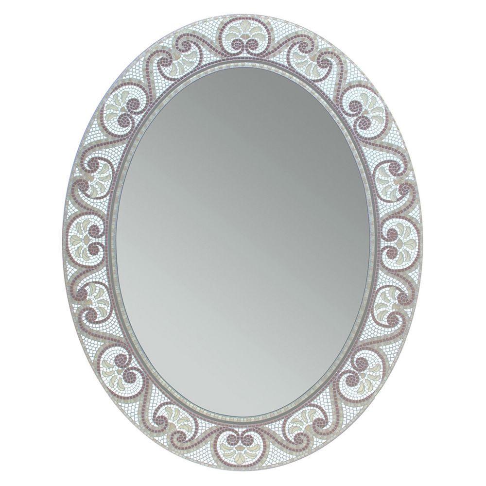 Deco Mirror 23 in. x 29 in. Earthtone Mosaic Oval Mirror
