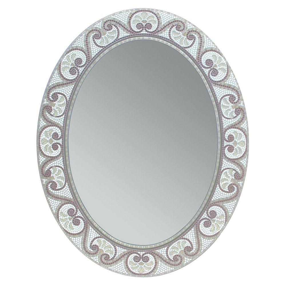 Deco Mirror 23 In X 29 Opal Mosaic Oval 8179 The Home Depot