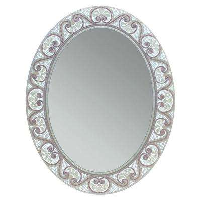 23 in. x 29 in. Earthtone Mosaic Oval Mirror