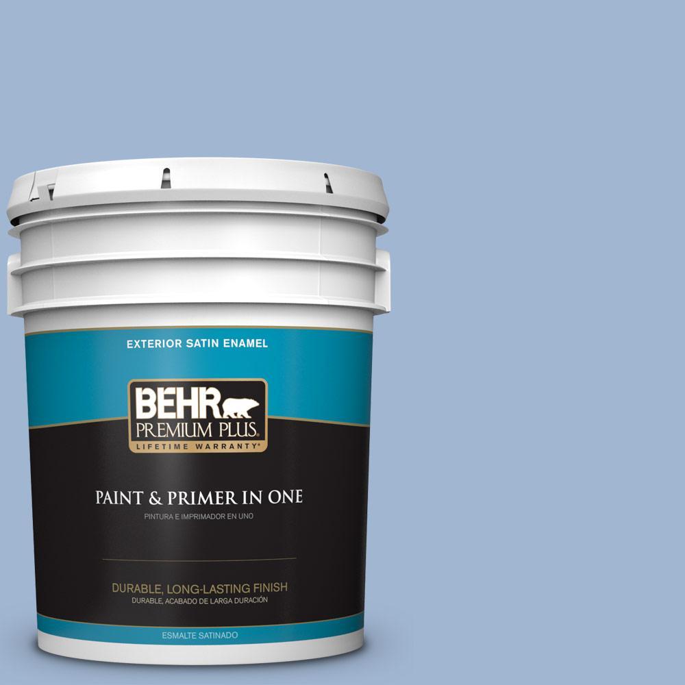 5 gal. #PPU14-10 Blue Suede Satin Enamel Exterior Paint