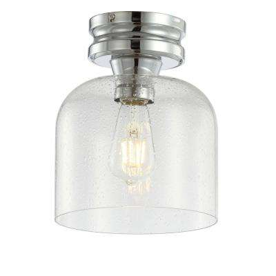 Domenic 7.75 in. Chrome Metal/Bubbled Glass LED Flush Mount