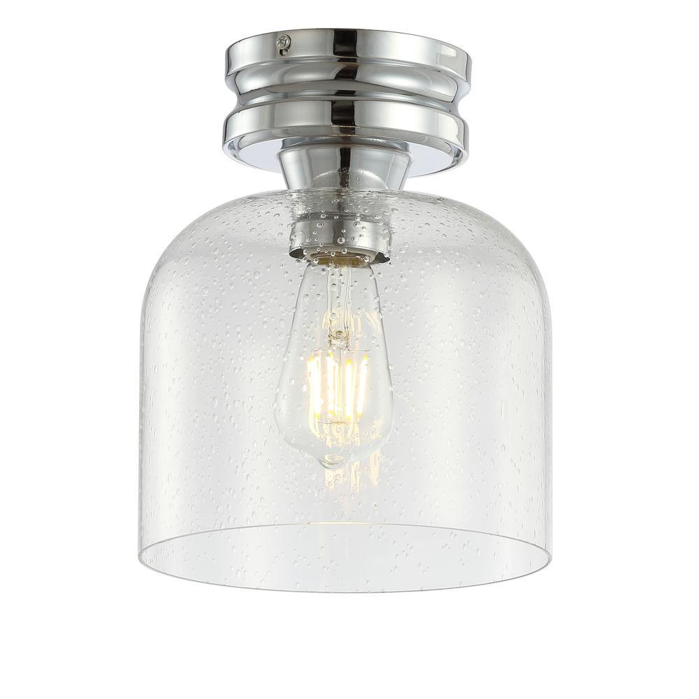 Domenic 7.75 in. Chrome Metal/Bubbled Glass LED Flush Mount