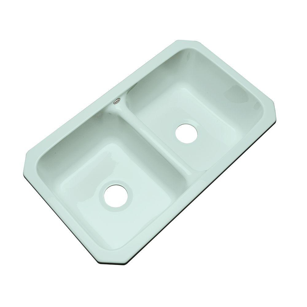 Thermocast Newport Undermount Acrylic 33 in. 0-Hole Double Bowl Kitchen Sink in Seafoam Green