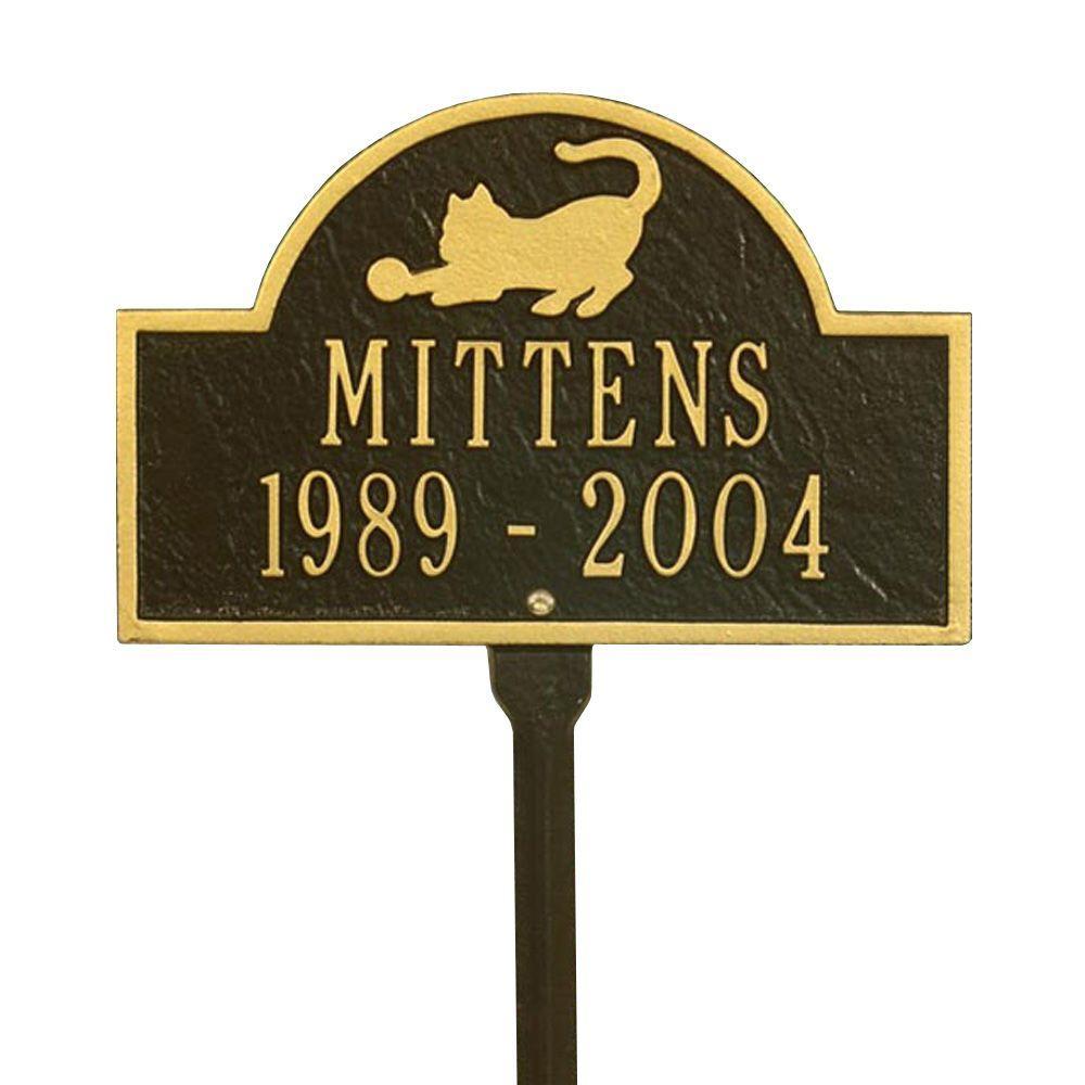 Pet Cat Mini Arch Bronze/Gold Two Line Lawn Marker