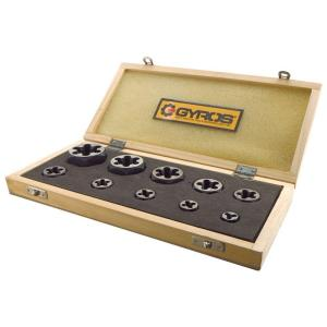 Click here to buy Gyros 1/4 inch - 1 inch NF Left Handed Carbon Steel Hex Rethreading Die Set (10-Piece) by Gyros.