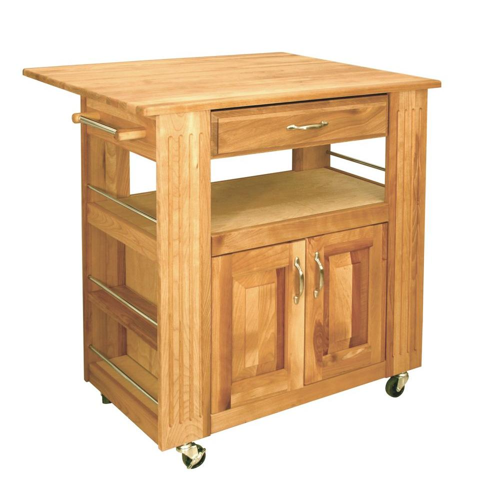Catskill Craftsmen Heart Of The Kitchen Natural Kitchen Cart With Storage 15445 The Home Depot