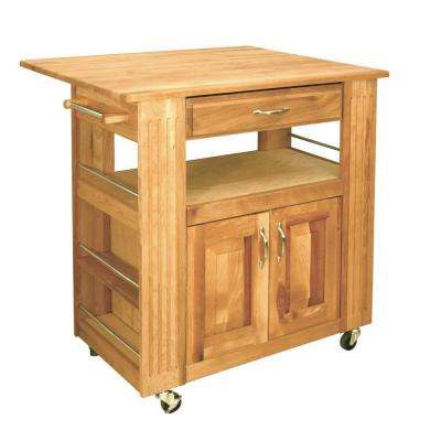 Heart-Of-The-Kitchen Natural Kitchen Cart With Storage