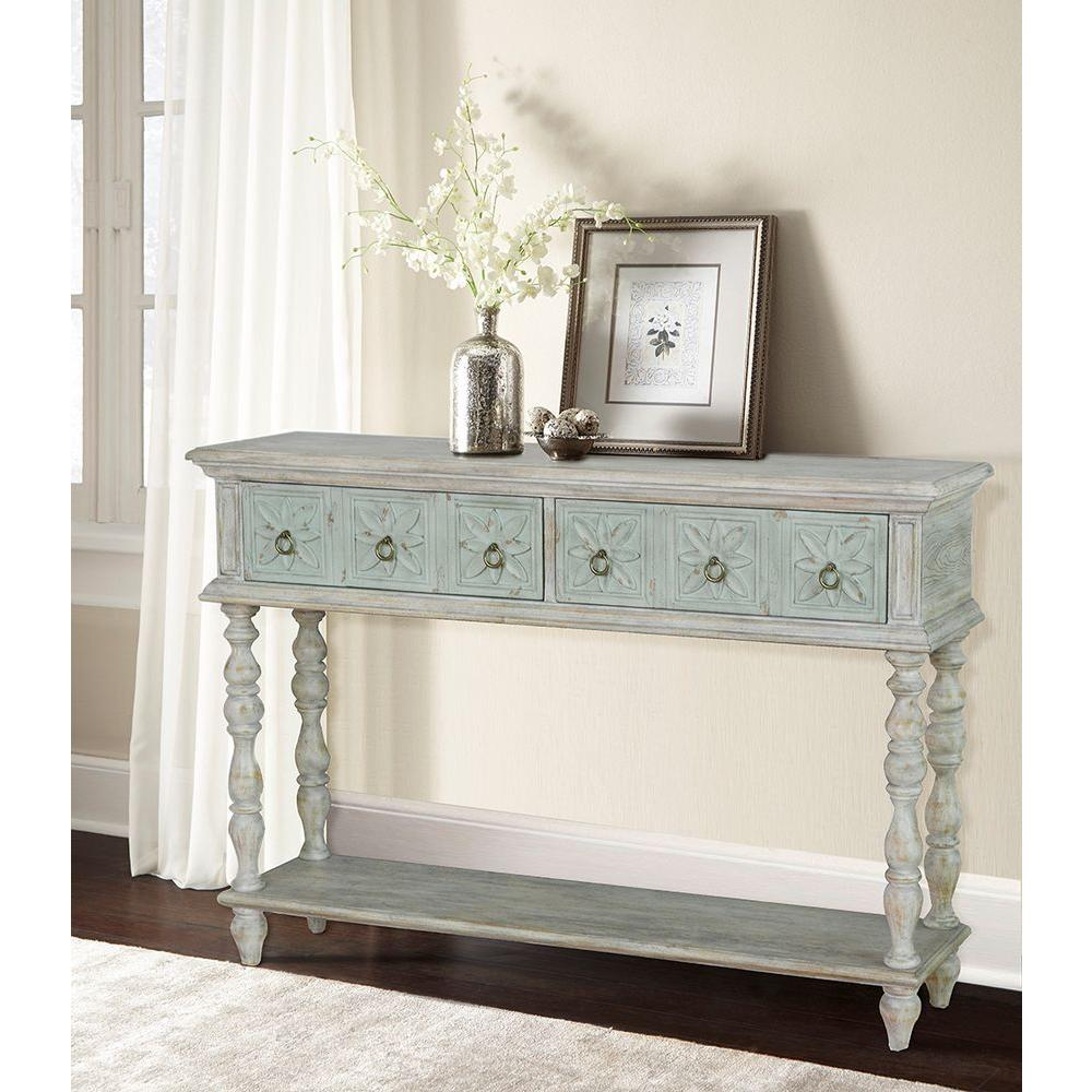Ski Furniture White Storage Console Table