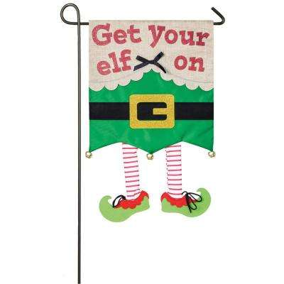 18 in. x 12.5 in. Get Your Elf On Garden Applique Flag
