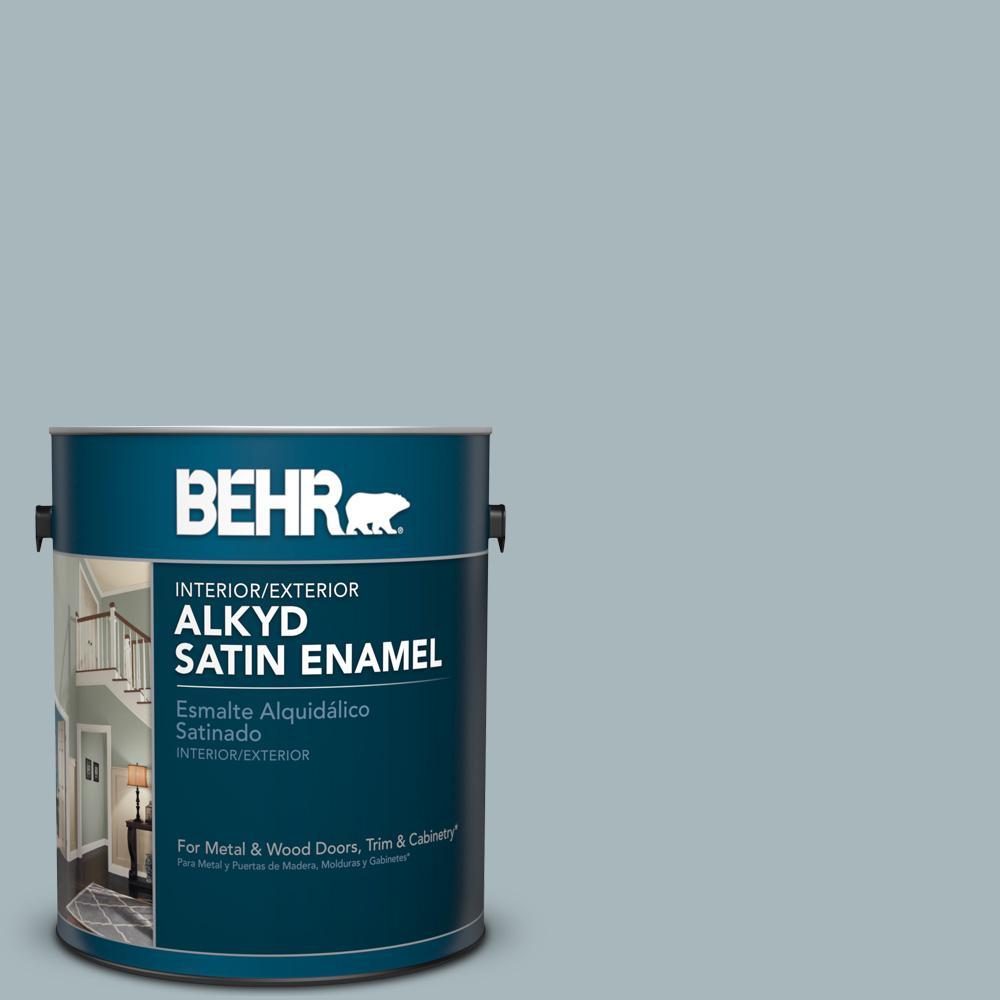 1 Gal N470 3 Half Sea Fog Satin Enamel Alkyd Interior Exterior Paint