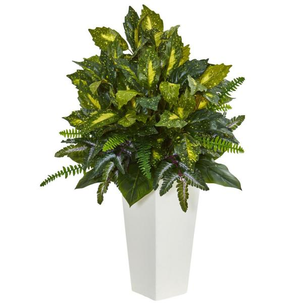 Nearly Natural Mixed Emerald Philodendron Artificial Plant in White Tower Planter