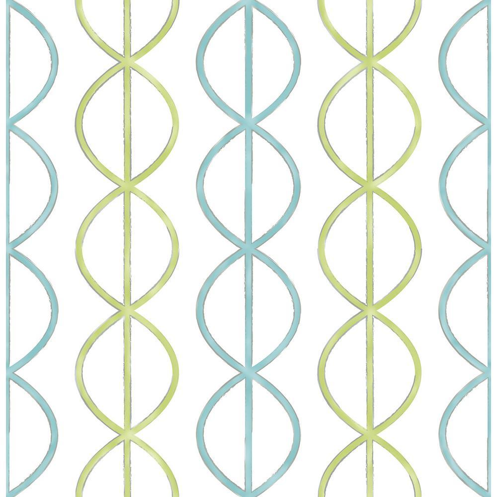 Sam, Banning Stripe Aqua Geometric Wallpaper