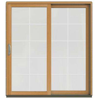 72 in. x 80 in. W-2500 Contemporary Silver Clad Wood Right-Hand 10 Lite Sliding Patio Door w/Stained Interior