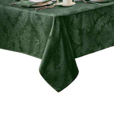 60 in. W x 102 in. L Hunter Elrene Barcelona Damask Fabric Tablecloth