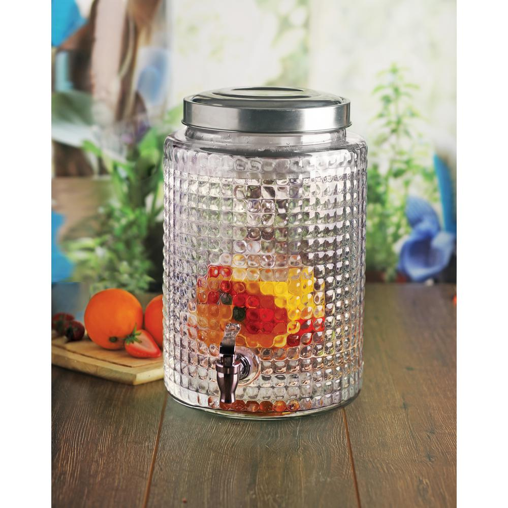 Windowpane 2.7 Gal. Clear Glass Round Beverage Dispenser with Ice Insert