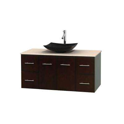 Centra 48 in. Vanity in Espresso with Marble Vanity Top in Ivory and Black Granite Sink