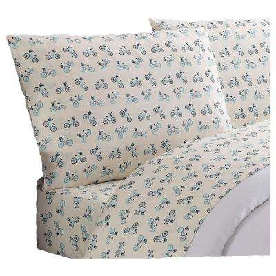Everyday Printed Bicycles Twin XL Sheet Set