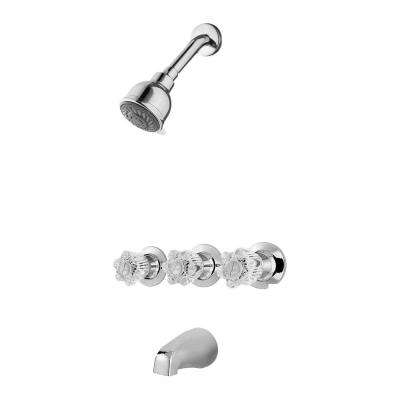 Bedford 3-Handle 3-Spray Tub and Shower Faucet in Polished Chrome (Valve Included)