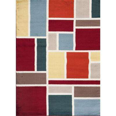 Contemporary Modern Boxes Design Multi 7 ft. 10 in. x 10 ft. 2 in. Indoor Area Rug
