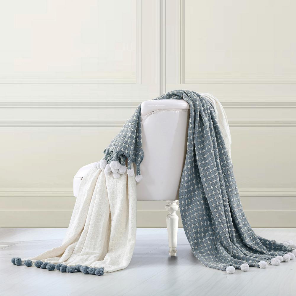 2-Pack Cross Stitch with Pom Poms Ivory/Blue 100% Cotton Throw