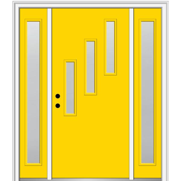 Mmi Door 68 5 In X 81 75 In Davina Right Hand Inswing 3 Lite Frosted Painted Fiberglass Smooth Prehung Front Door W Sidelites Z0350623r The Home Depot