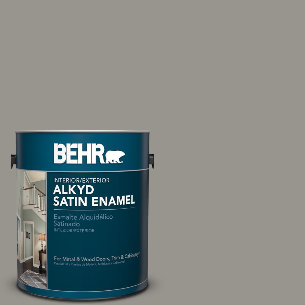 1 gal. #N360-4 Battleship Gray Satin Enamel Alkyd Interior/Exterior Paint