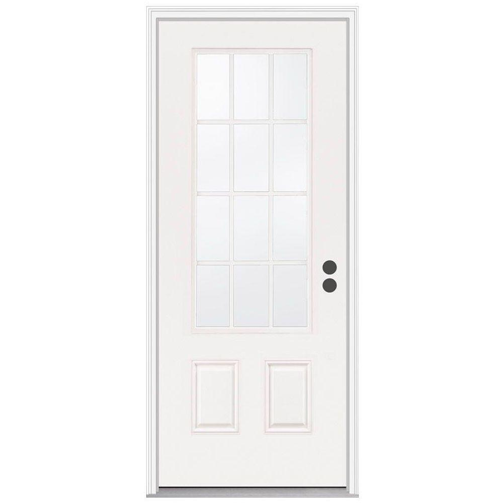 JELD-WEN 36 in. x 80 in. 12 Lite Primed Steel Prehung Left-Hand Inswing Front Door w/Brickmould