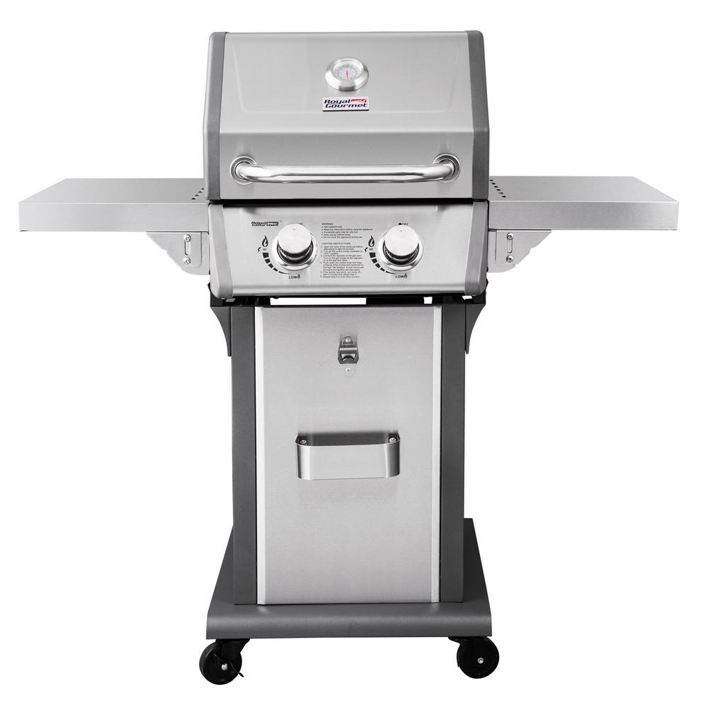 Deluxe 2 Burner Patio Propane Gas Grill In Stainless Steel With Folding Side Tables