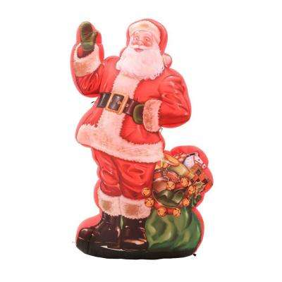 46.46 in. W x 29.53 in. D x 83.86 in. H Inflatable Photorealistic Classic Illustrated Santa with Gift Sack