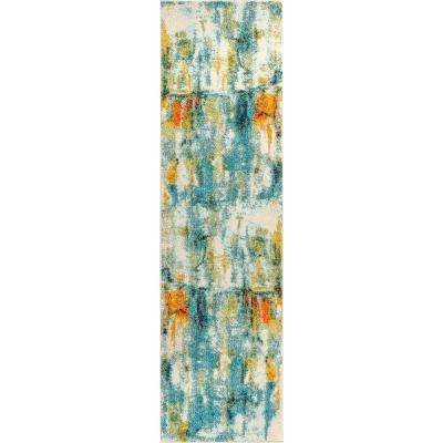 Contemporary POP Modern Abstract Waterfall Blue/Cream 2 ft. 3 in. x 8 ft. Runner Rug