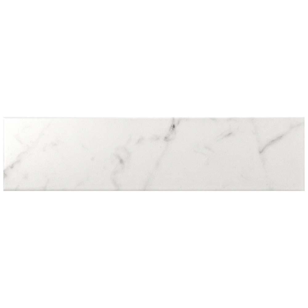Classico Carrara Matte 3 in. x 12 in. Ceramic Wall Tile