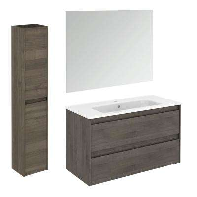 39.8 in. W x 18.1 in. D x 22.3 in. H Bathroom Vanity Unit in Samara Ash with Mirror and Column