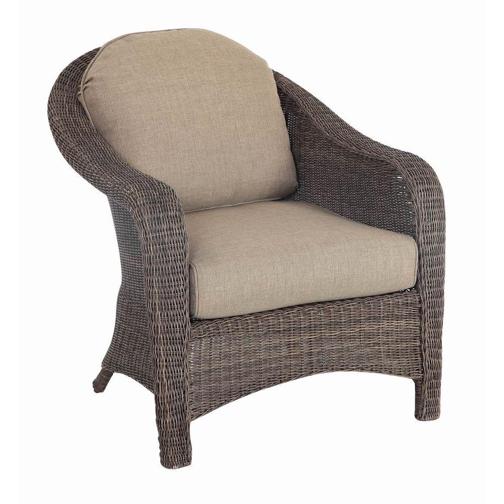 Hampton Bay Walnut Creek Patio Club Chair with Wheat Cushion (2-Pack)-DISCONTINUED