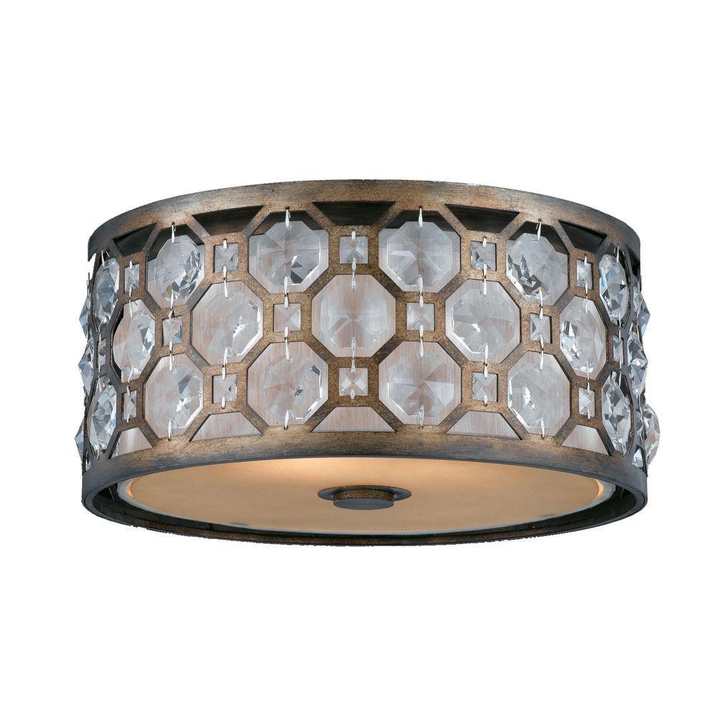 Illumine 2 Light Flush Mount Weathered Bronze Finish Crystal Accents