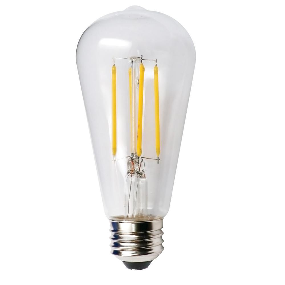 60-Watt Equivalent 5-Watt ST19 Dimmable LED Clear Filament Antique Vintage Style Light Bulb 2700K 85043