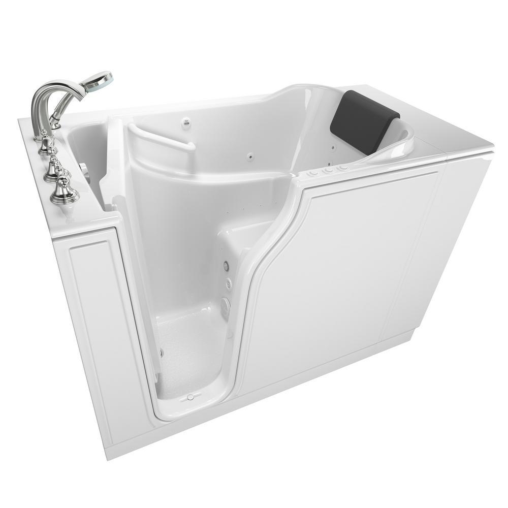 Gelcoat Premium Series 52 in. x 30 in. Left Hand Walk-In Whirlpool and Air Bathtub in White