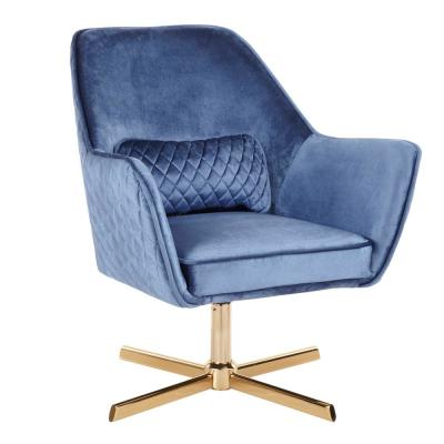 Diana Blue Velvet and Gold Metal Lounge Chair with Swivel