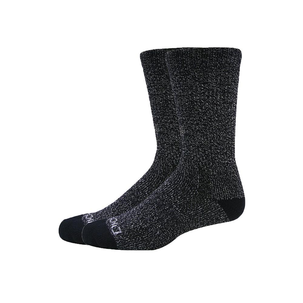 2 pk Steel Toe Moisture Control Black Crew Sock