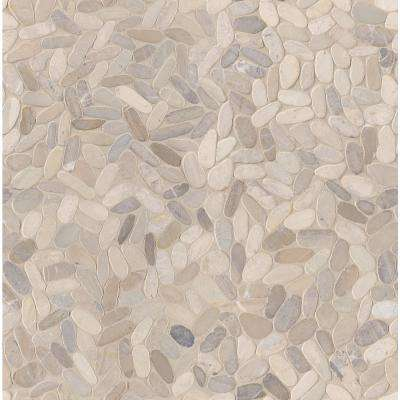 Sliced Pebble Truffle 12 in. x 12 in. x 10mm Tumbled Marble Mesh-Mounted Mosaic Tile (9.7 sq. ft./case)