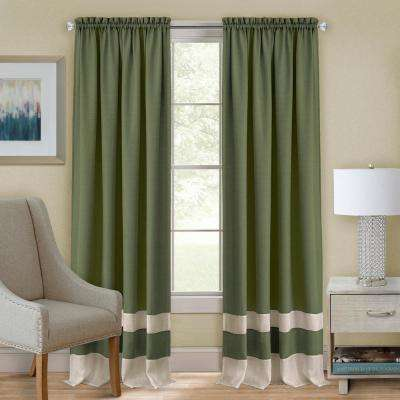 Darcy Polyester Rod Pocket Curtain Panel in Green/Camel - 52 in. W x 84 in. L