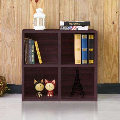 Quad 4-Cubby Espresso Eco zBoard Stackable Tool-Free Assembly Bookcase and Storage Shelf Organizer