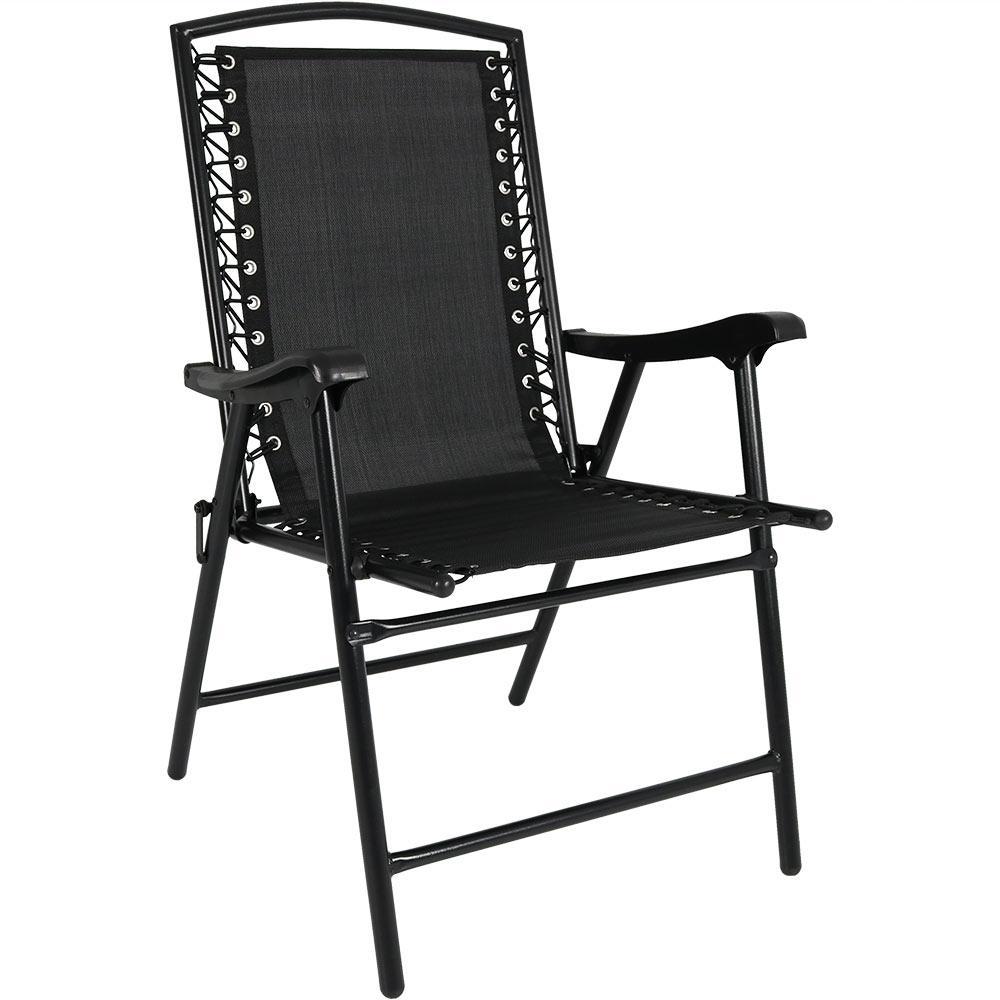 Sunnydaze Decor Black Sling Folding Beach Lawn Chair