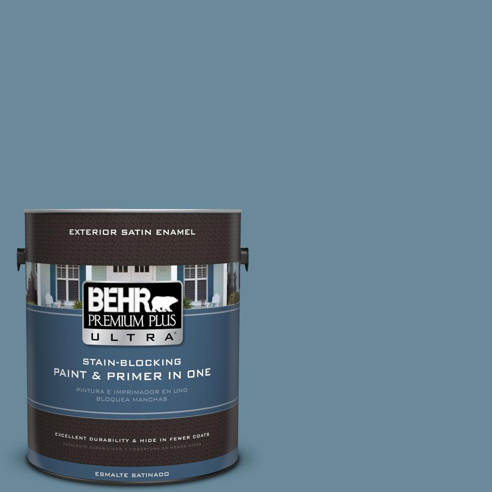 BEHR Premium Plus Ultra 1-gal. #BIC-22 Relaxed Blue Satin Enamel Exterior Paint