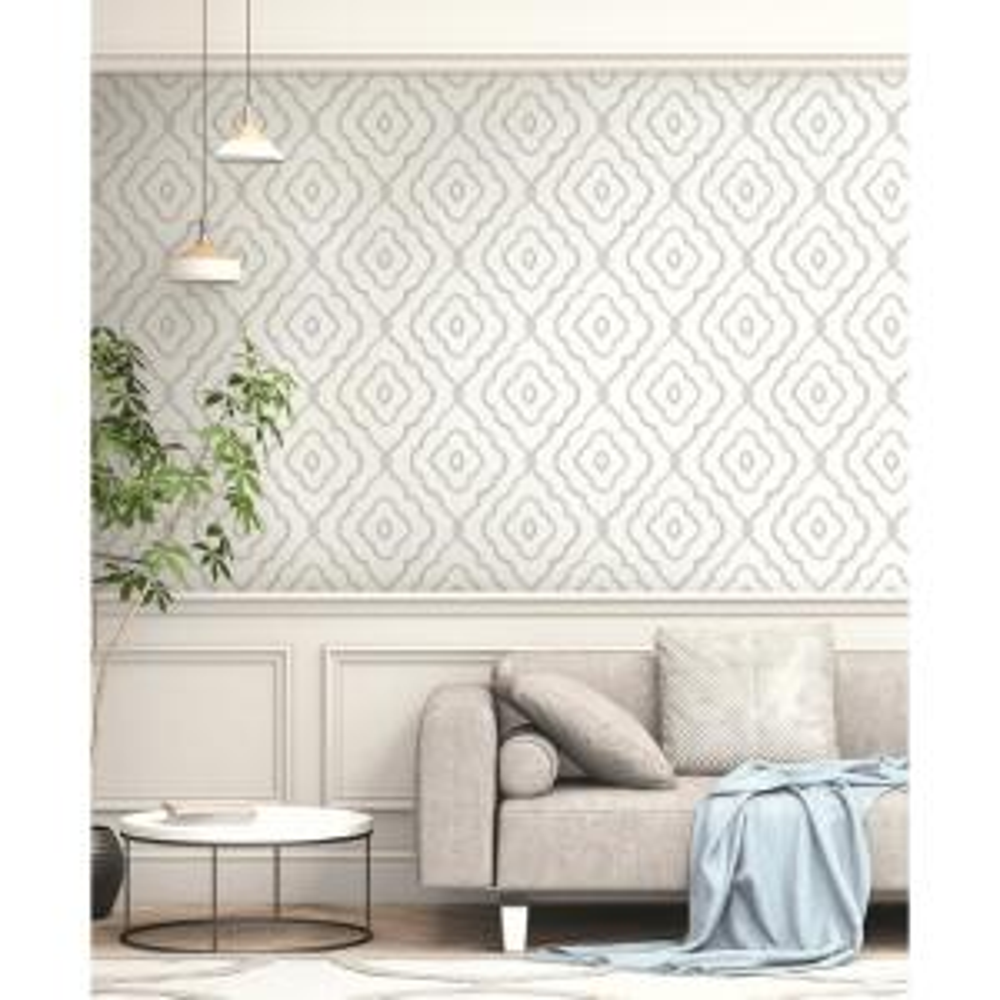Seaside Daydream Gray Ogee Wallpaper